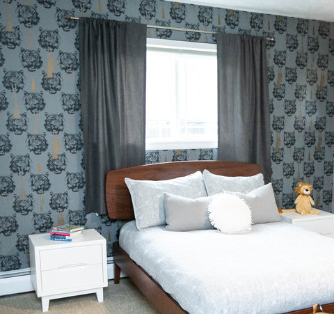 Emily Meszcat Interiors used Coco Tiger, Grey wallpaper from the Studio Lisa Bengtsson collection at The Pattern Collective