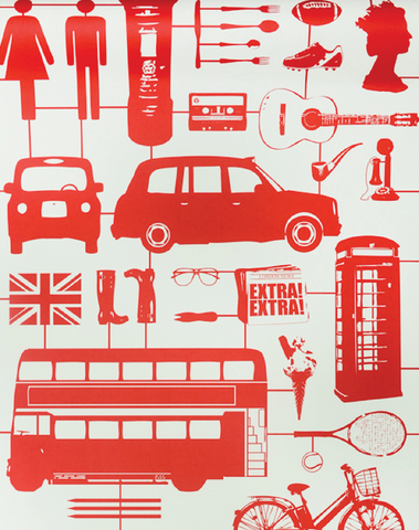 Airfix London Wallpaper in Red