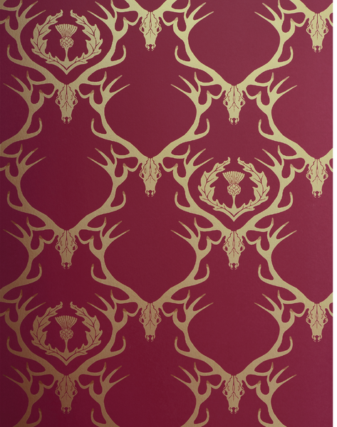 Deer Damask, Claret & Gold
