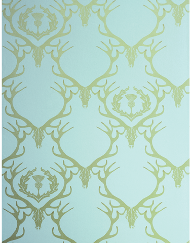 Deer Damask, Duck Egg Blue & Antique Gold