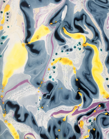 Blue Flower Marble Panel in Dark Blue, Purple, Turquoise & Yellow