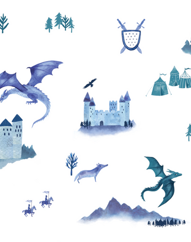 Castles and Dragons, Inky Blue & Teal