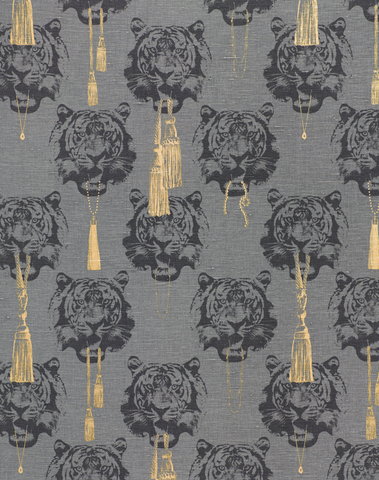 Coco Tiger Fabric, Grey