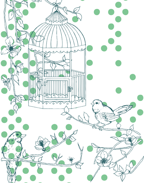 Dotty Bird, Summer Green & Teal
