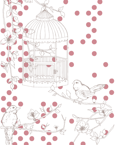 Dotty Bird, Rose & Light Taupe
