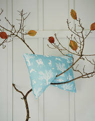 Enchanted Wood Fabric, Duck Egg Blue & White