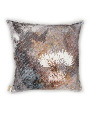 Mairi Helena Grey Tailor Thistle Cushion Cover