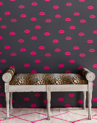 Lips, Hot Pink on Grey