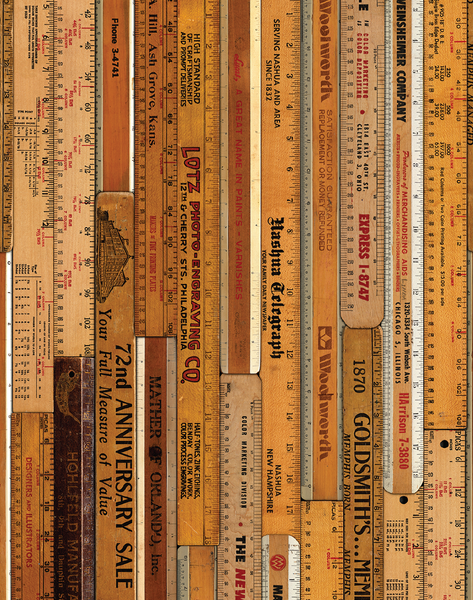 MRV-06 Large Printed Rulers Wallpaper by Mr & Mrs Vintage