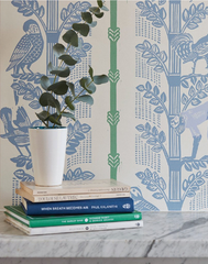 Monkeys & Birds, Blue/Deco Green