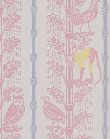 Monkeys & Birds, Rose/Grey Parma