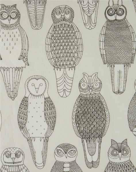 Owls of the British Isles Linen Fabric