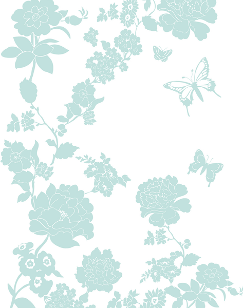 Pretty Flower, Duck Egg Blue