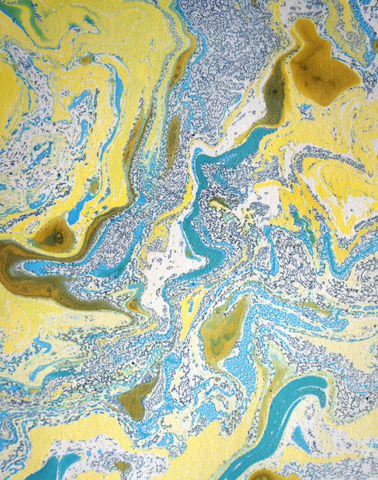 Starry Night Marble Panel in Dark Blue, Light Blue, Turquoise, & Yellow Gold
