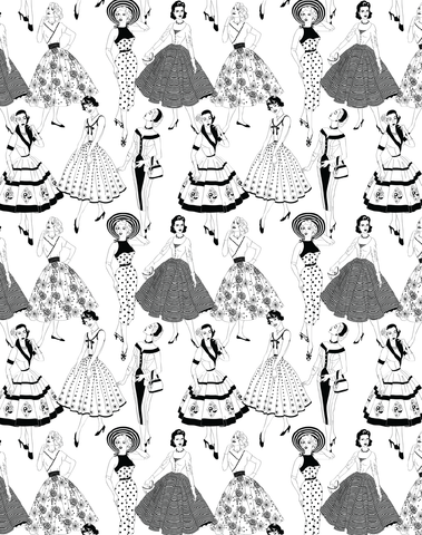 Vintage Dress Wallpaper, Black & White