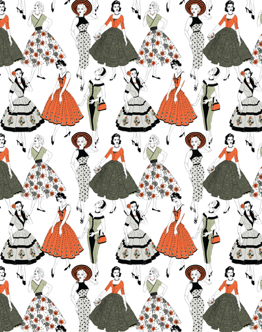 Vintage Dress Wallpaper, Color
