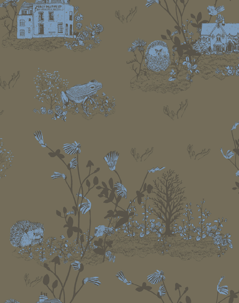 Woodlands Wallpaper in Khaki Blue