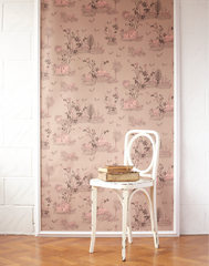 Woodlands Wallpaper in Brown and Pink