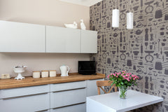 Airfix Kitchen Wallpaper in Taupe