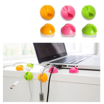 Cable Clip Desk Tidy Winder Organizer Phone-Wire USB~Charger Lead Fixings L0R9