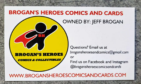 Brogans Heroes Comics and Cards Business Card