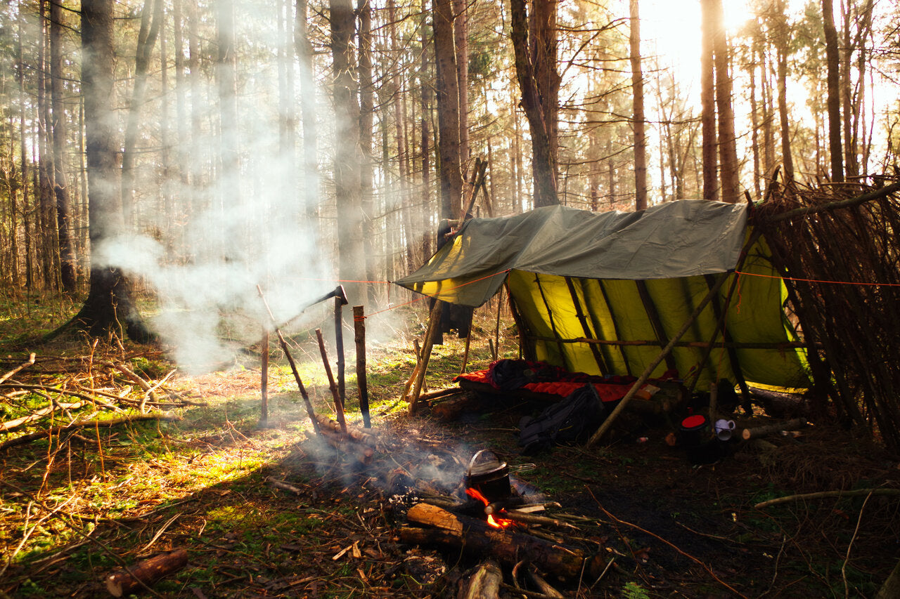 A traditional bushcraft camp