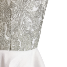 Load image into Gallery viewer, Aydee Silver Brocade Mini Dress