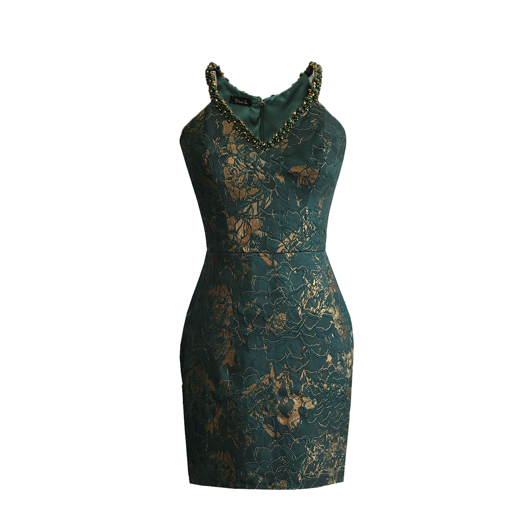 Gemma Brocade embellished Mini Dress