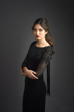 Load image into Gallery viewer, Leah Velvet Gown with Embellished Sleeves