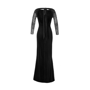 Leah Velvet Gown with Embellished Sleeves