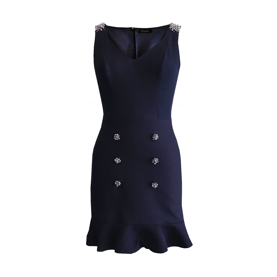 Lorna Embellished Button Dress