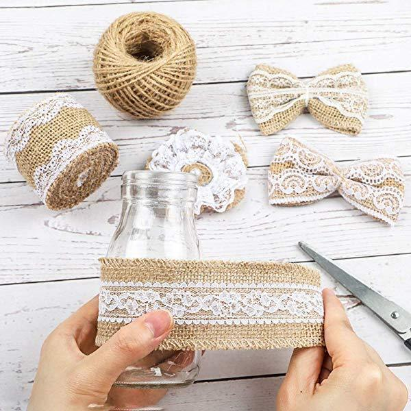 Natural Burlap Lace Craft Ribbon Roll