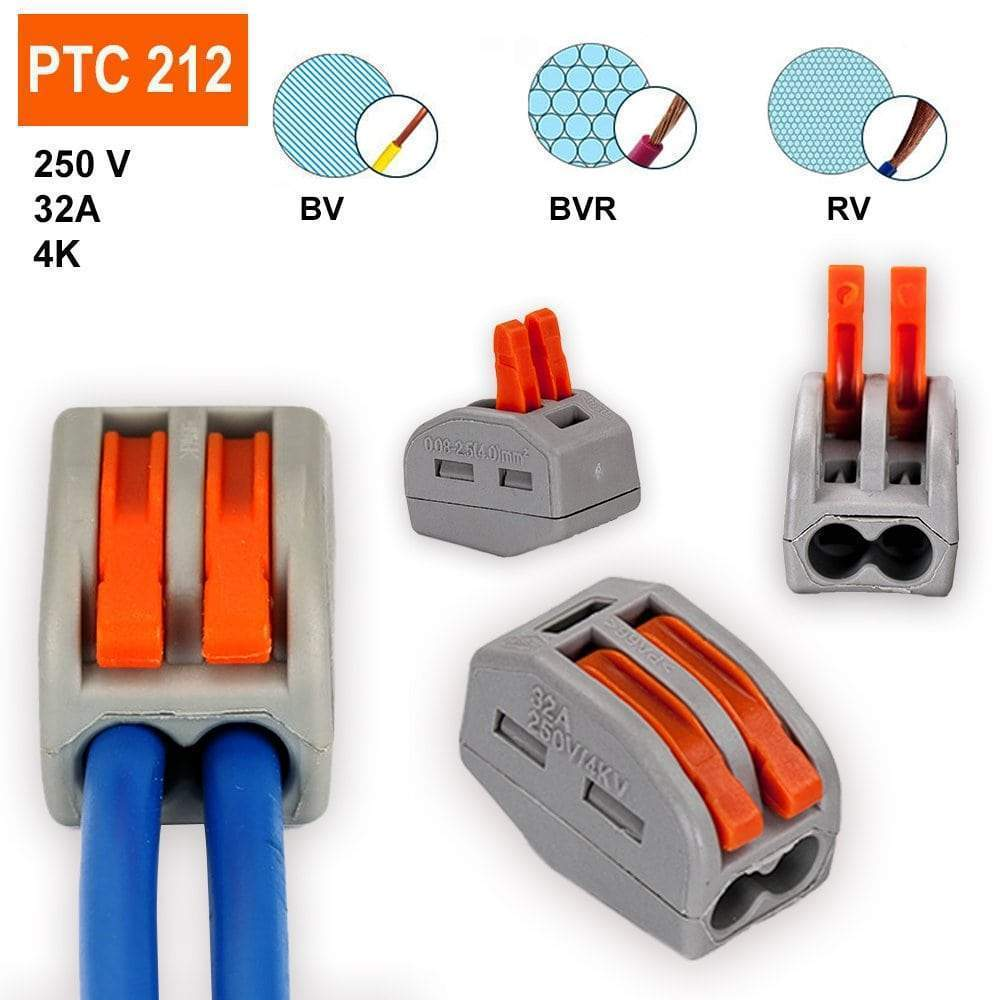 PCT-212 Terminal Block Wire Push Cable Connector(10 pcs/20pcs)