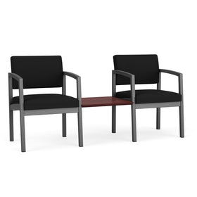 Lesro Lenox Steel 2 Chairs with Chelsea Mahogany Connecting Center Table