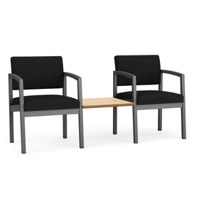Lesro Lenox Steel 2 Chairs with Natural Maple Connecting Center Table