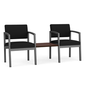 Lesro Lenox Steel 2 Chairs with Cocoa Walnut Connecting Center Table