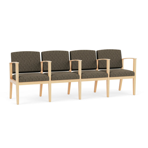 Lesro Amherst Wood 4-Seater with Center Arms