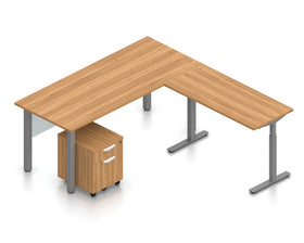Offices To Go Height-Adjustable L-Shape Desk with Single Mobile Pedestal File