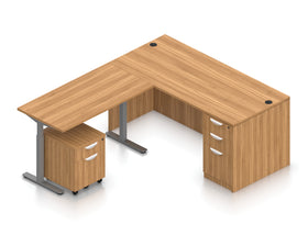 Offices To Go Reversible L-Desk with Height-Adjustable Return