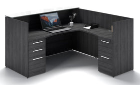 Corp Design L-Shaped Reception Desk with Transactional Floated Top