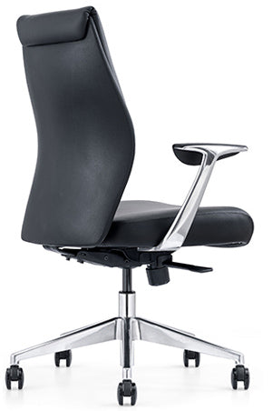 Leather on Demand LOD55 Midback Black Leather Office Chair
