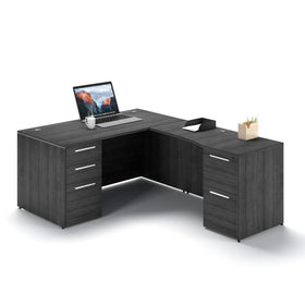 Corp Design L-Shaped Desk with  Modesty Panel