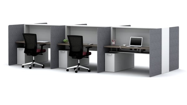 AIS Calibrate High-Privacy 6-Person Workstation Typical with Built-In Power Ports