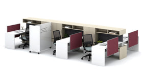 AIS Calibrate Workstation Typical with Cantilevered Overhead & Tri-Wheel Whiteboard