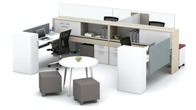 AIS Calibrate Collaborative Workstation Typical with Mounted Glass Partitions