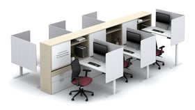 AIS Calibrate 6-Person Workstation Typical with Privacy Panels, Lateral Storage & Whiteboards