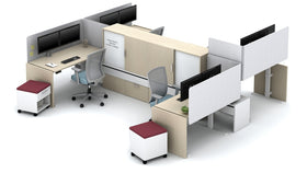 AIS Calibrate Collaborative Workstation Typical with Height-Adjustable Tables & L-Shaped PET Screens