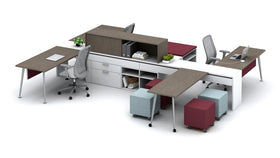 AIS Calibrate Collaborative 4-Person Workstation with Sliding Worktops