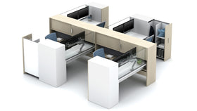 AIS Calibrate 4-Person Workstation Typical with Glass Screens & Pantry Storage