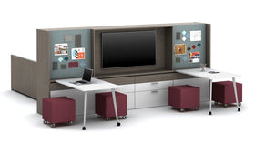 AIS Calibrate Dual-Sided Workwall with Sliding Worktop & Lounge Seating